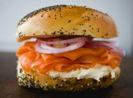 classic bagel lox cream cheese red onion
