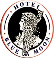 outdoor blue moon sign